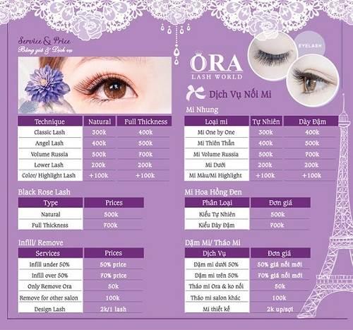 Bảng giá dịch vụ nối mi tại địa chỉ nối mi đẹp  Ora Nails Eyelash Salon