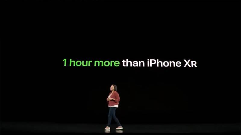 Apple đã tuyên bố máy sẽ có thời luọng 'trâu' hơn một giờ đồng hồ so với iPhone Xr.
