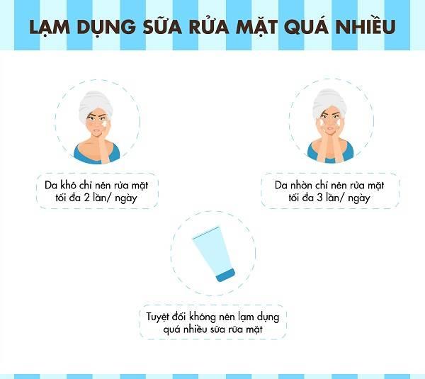 Không nên rửa mặt quá nhiều lần trong ngày