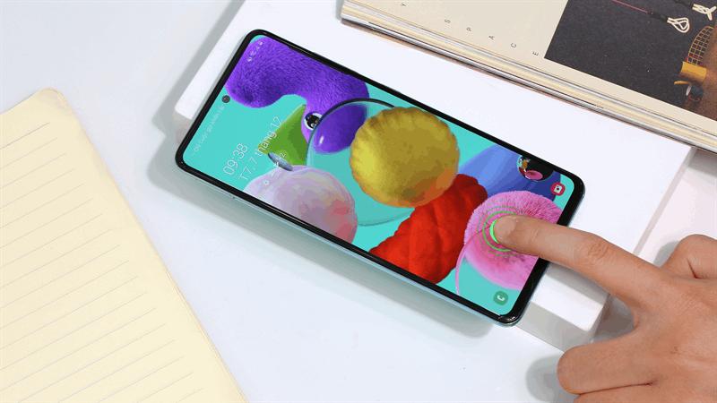 Đánh giá điện thoại samsung a51- Cảm biến vân tay nhúng trực tiếp trong màn hình hiện đại