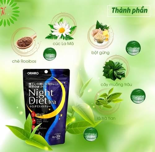 Review trà giảm cân Orihiro night diet tea Nhật Bản